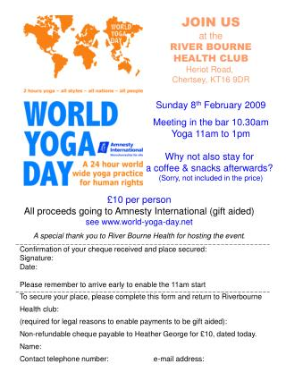 JOIN US at the RIVER BOURNE HEALTH CLUB Heriot Road,  Chertsey, KT16 9DR