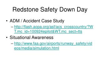 Redstone Safety Down Day