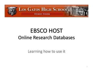 EBSCO HOST Online Research Databases