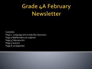 Grade 4A February Newsletter