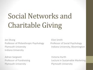 Social Networks and Charitable Giving