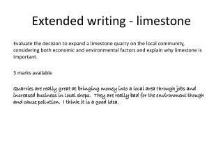 Extended writing - limestone