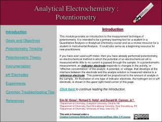 Analytical Electrochemistry :                                 Potentiometry
