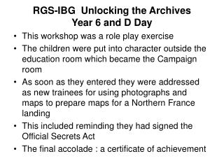 RGS-IBG  Unlocking the Archives Year 6 and D Day