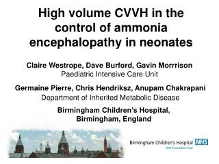 High volume CVVH in the control of ammonia encephalopathy in neonates
