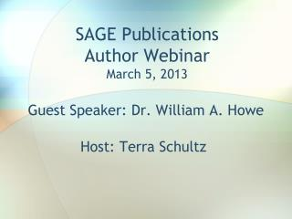 SAGE Publications  Author Webinar March 5, 2013