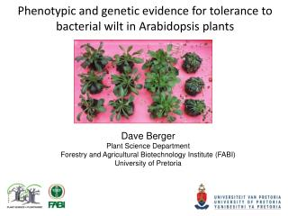 Phenotypic and genetic evidence for tolerance to bacterial wilt in Arabidopsis plants