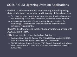 GOES-R GLM Lightning-Aviation Applications