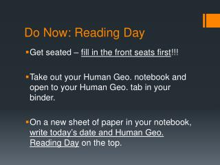 Do Now: Reading Day