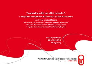 CSCL conference 9th of July 2011 Hong Kong