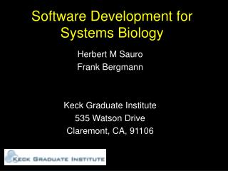 Software Development for Systems Biology