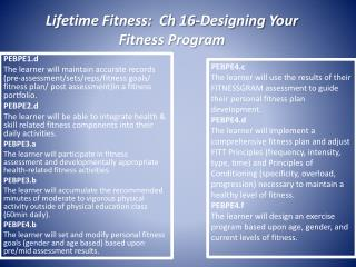 Lifetime Fitness:  Ch 16-Designing Your Fitness Program