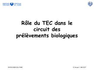 Rôle du TEC dans le circuit des  prélèvements biologiques