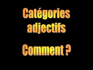 Catégories adjectifs