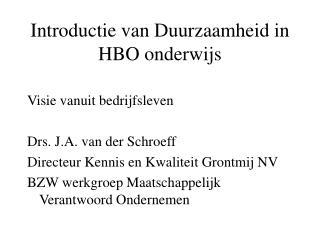 Introductie van Duurzaamheid in HBO onderwijs