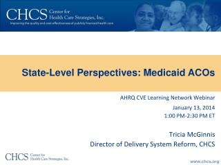 AHRQ CVE Learning Network  Webinar January 13, 2014 1:00 PM-2:30  PM  ET Tricia  McGinnis