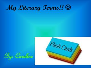My Literary Terms!! 