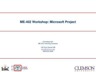 ME-402 Workshop: Microsoft Project