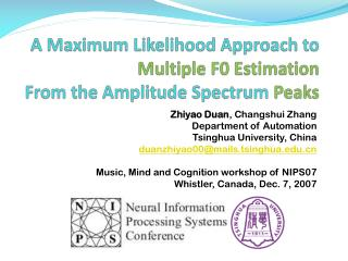 A Maximum Likelihood Approach to  Multiple F0 Estimation From the Amplitude Spectrum  Peaks