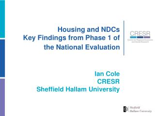 Housing and NDCs Key Findings from Phase 1of the National Evaluation
