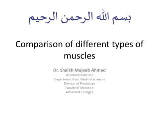 Comparison of different types of muscles