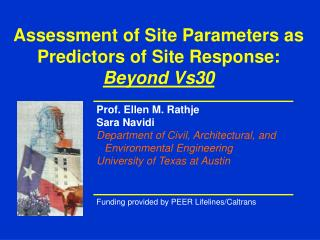 Assessment of Site Parameters as Predictors of Site Response:  Beyond Vs30