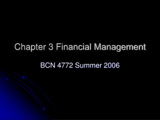 Chapter 3 Financial Management