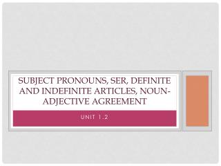 Subject pronouns,  ser , Definite and Indefinite articles, Noun-adjective agreement