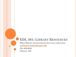 EDL 561: Library Resources