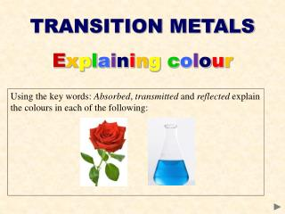 TRANSITION METALS E x p l a i n i n g c o l o u r
