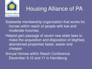 Housing Alliance of PA
