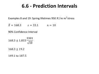 6.6 - Prediction Intervals