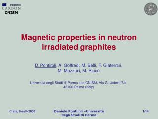 Magnetic properties in neutron irradiated graphites