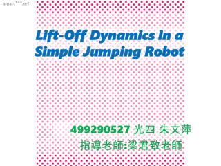 Lift-Off Dynamics in a Simple Jumping Robot