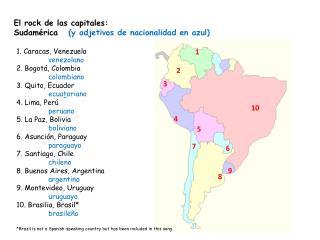 El rock de las capitales: Sudamérica    (y adjetivos de nacionalidad en azul)