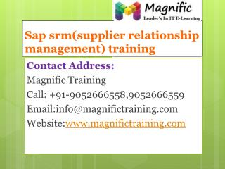 sap srm(supplier relationship management) training