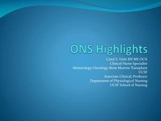 ONS Highlights