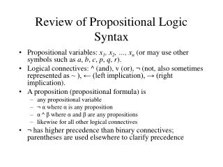 Review of Propositional Logic Syntax