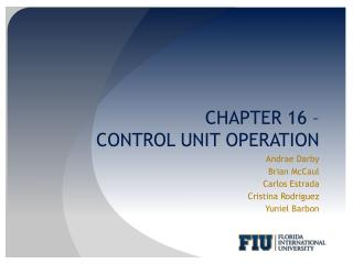 CHAPTER 16 –  CONTROL UNIT OPERATION
