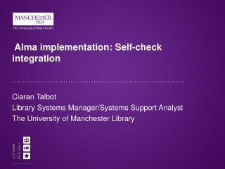 Alma implementation: Self-check integration