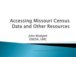 Accessing Missouri Census Data and Other Resources