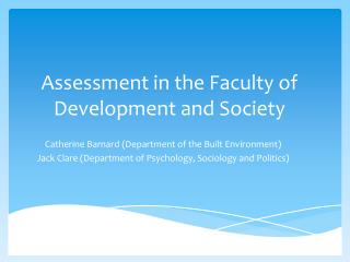 Assessment in the Faculty of Development and Society