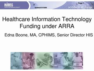 Healthcare Information Technology Funding under ARRA