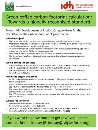 Green coffee carbon footprint calculation: Towards a globally recognised  standard