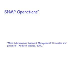 SNMP Operations *