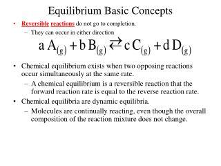 Equilibrium Basic Concepts