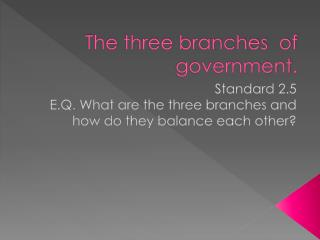 The three branches  of government.