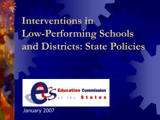 Interventions in  Low-Performing Schools  and Districts: State Policies