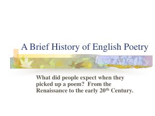 A Brief History of English Poetry