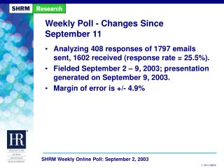 Weekly Poll - Changes Since September 11